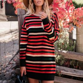 Casual Women Loose Dress Striped Print Contrast Color Splice