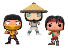 Funko Pop Mortal Kombat Scorpion Raiden Liu Kang 12x S Juros
