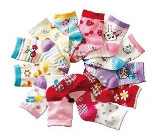 Kit 12 Pares Meia Infantil Antiderrapante 2-4 Anos Meninas
