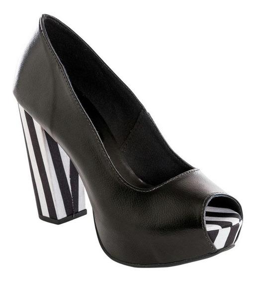 Sapato Feminino Peep Toe Listrado, Branco E Preto Fashion