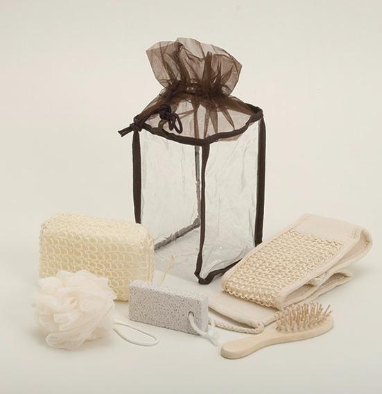 Kit-banho Com Escova,buxa,ralador,pedra Pome,esponja