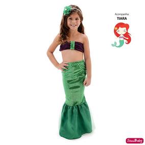 Vestido Fantasia Infantil Ariel Pequena Sereia Tiara Oferta