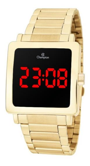 Relógio Feminino Dourado Champion Quadrado Digital Led + Nf