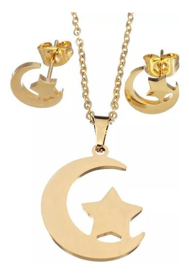 Kit Cadena Dije Aretes Forma D Luna Y Estrella Dorado Acero