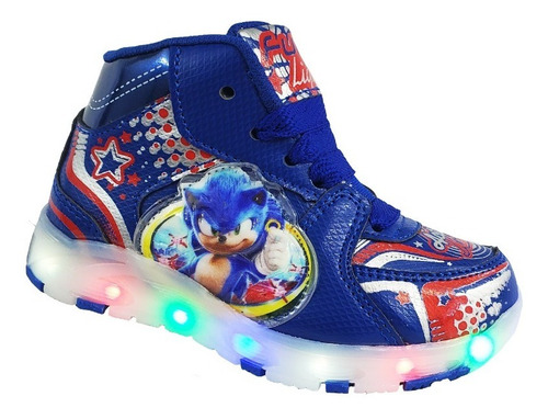 Tenis Niño Bota Sonic Luces Led  Azul Botin The Hedgehog