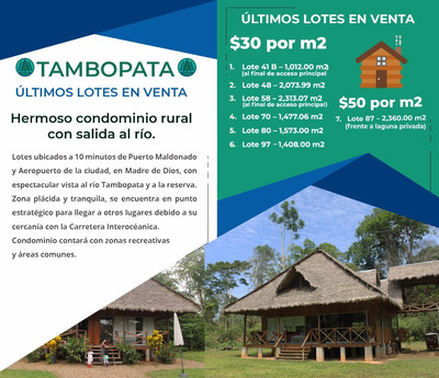 Venta Lotes Tambopata Condominio Puerto Maldonado