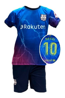 Conjunto Infantil Uniforme Barcelona Futebol Messi 2019