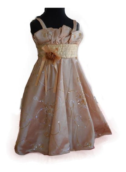 Vestido Nena Fiesta Casamiento Dorado Ocre Bordado