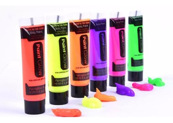 6 Tubos Pinturaglow Luz Noche Maquillaje Neon