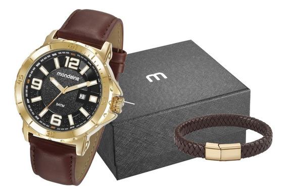 Kit Relógio Masculino Mondaine Dourado 99357gpmvdh2k1 Couro