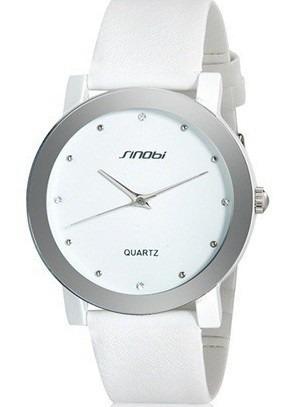 Relógio Couro Feminino Luxo Branco + Garantia