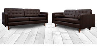 Sala 100% Piel - Noruega Sofa, Love Y Sillon- Confortopiel