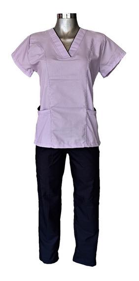 Pijama Quirúrgica Lila Con Marino