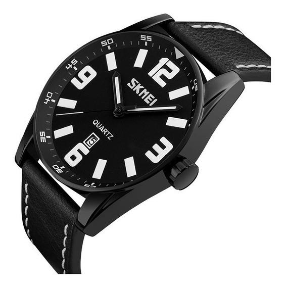 Relógio Pulseira Couro Analógico Luxo Original Top Promoção