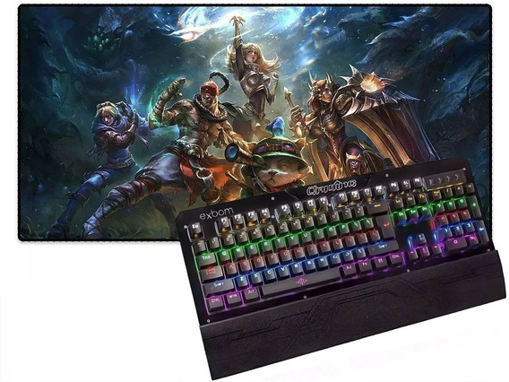 Combo Teclado Mecânico Gamer Led Colorido Teclas Altas Bk-gx1 + Mouse Pad Lol League Of Legends 70x35x3mm Pronta Entrega