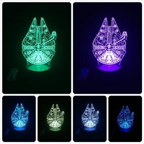 Luminária Falcon Millenium 3d Led Star Wars Luz 7 Cores
