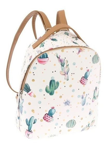 Bolsa Mochila Backpack Cactus Blanca 9898 Jennyfer Original