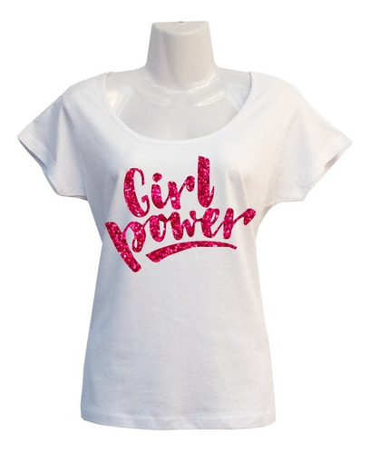 Polera Girl Power - Frase Feminista - Estampada - Escotada