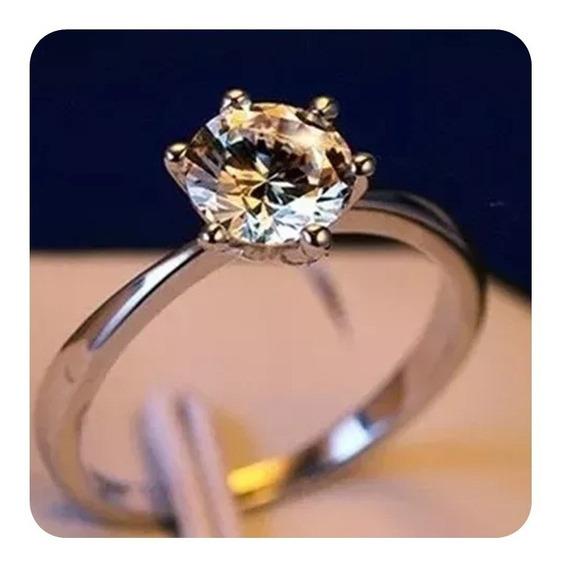 Anel Banhado A Prata Zircônia Noivado Compromisso Casamento