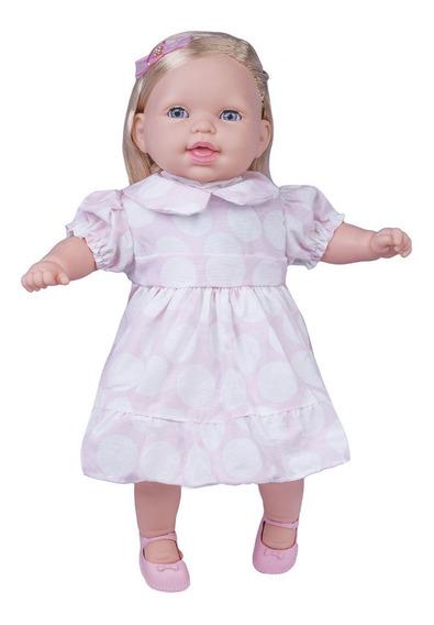 Boneca - Conversando Com A Mamãe - Vestido Rosa Com Branco -