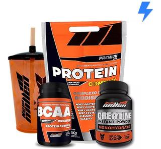 Protein Complex 1.8kg + Bcaa + Creatina + Brinde - New Milen