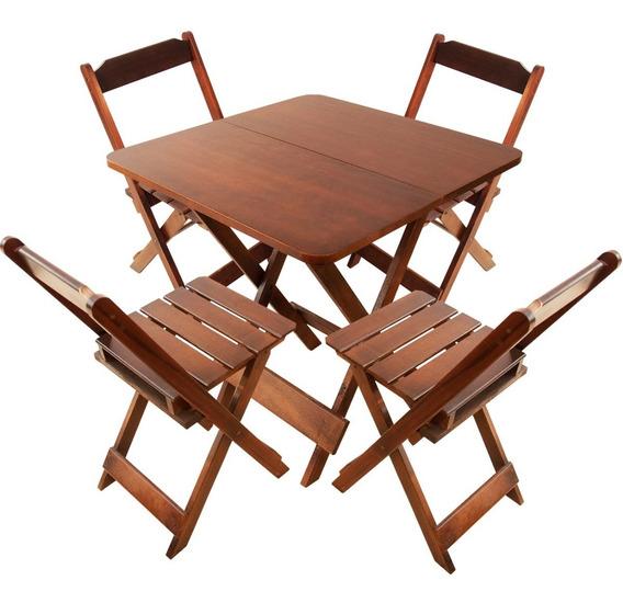 Jogo De Mesa 70x70 C/4 Cadeiras Madeira Dobrável Bar Cor Mel
