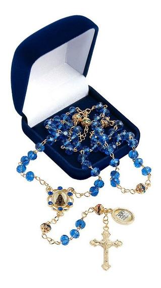 Terço Na Corrente Nossa Senhora Aparecida 300 Anos Cristal Azul Strass Triângulo Em Corrente Dourada