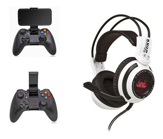 Controle Manete Recarregável Bluetooth Gamepad + Fone Headset Gamer 7.1