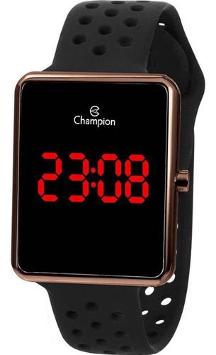 Relógio Champion Masculino Digital Led Marrom Preto Ch40081r