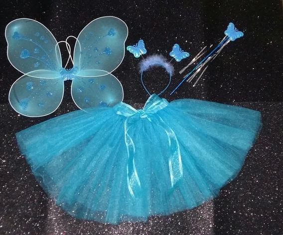 Tutu Disfraz Faldita Mariposa Azul Primavera Talla 3-5