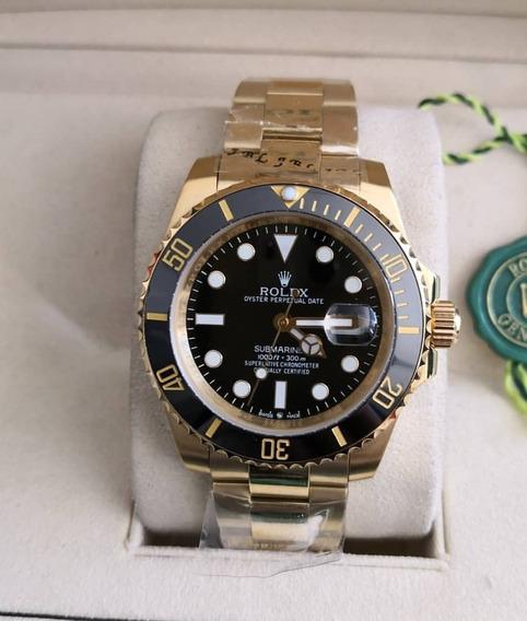 Relógio Mod Submariner 40mm Dourado Gold Automático Luxo