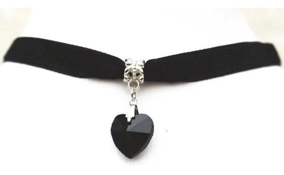2 Colar Crocker Veludo Preto Com Coração Negro