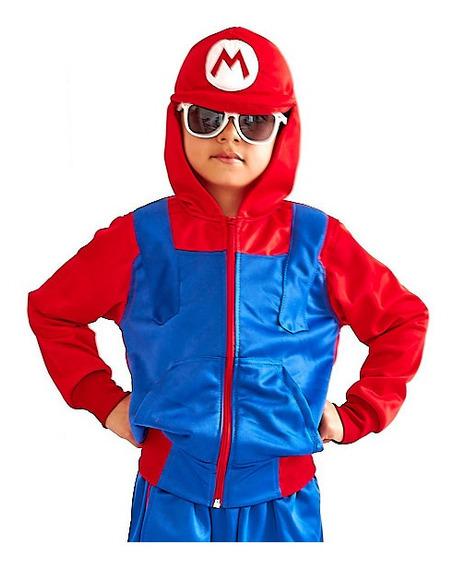 Conjunto De Pants Y Chamarra Disfraz Mario Bros Para Niño