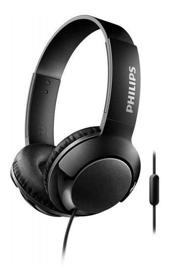 Fone De Ouvido Philips Bass+ Shl3075bk - Preto, Com Microfon
