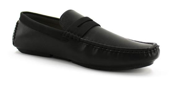 Zapato Mocasines Hombre Casuales Negro Piel Sintetica I90305