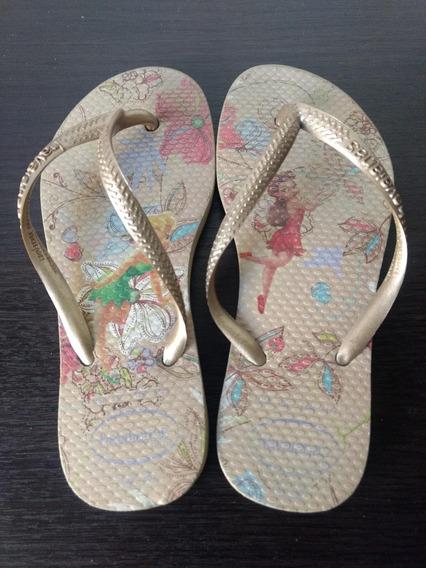 Ojotas Havaianas Tinkerbell Campanita N° 29 - 30 Nena Dorado