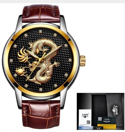 Relógio Lige Dragão Gold Black Couro