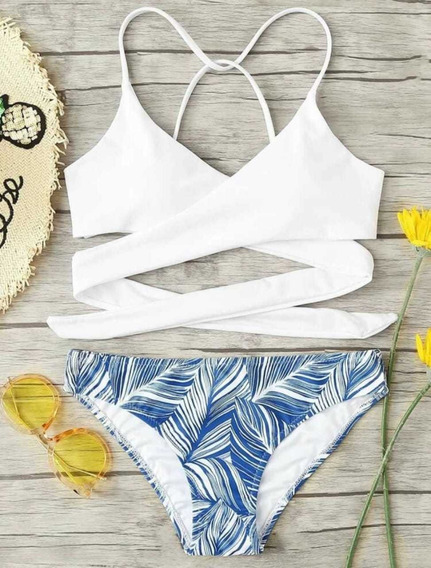 Hermoso Bikini Blanco Con Azul Playa Traje De Baño Bañador
