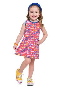 Vestido Infantil Menina Meia Malha Estampada Boca Grande
