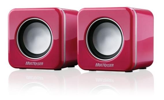 Mini Caixa De Som Multilaser 2.0 Usb P2 4w Rms Rosa - Sp103