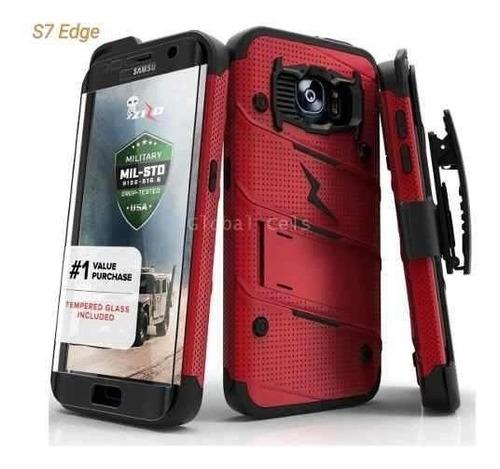 Case Protector Galaxy S7 Edge Con Vidrio Temp. Extremo Usa