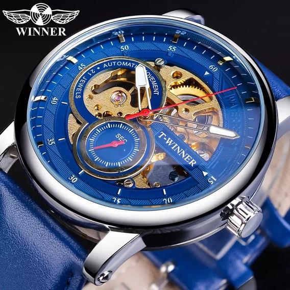 Relógio Masculino Vencedor Mecânico Pulseira De Couro Azul