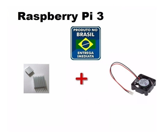 Kit Dissipador + Cooler Raspberry Pi3 + Micro Sd 64gb C10