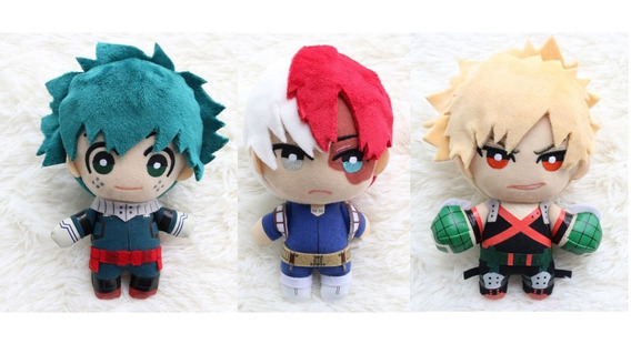 Set 3 Peluches My Hero Academia Deku Todoroki Bakugo Anime