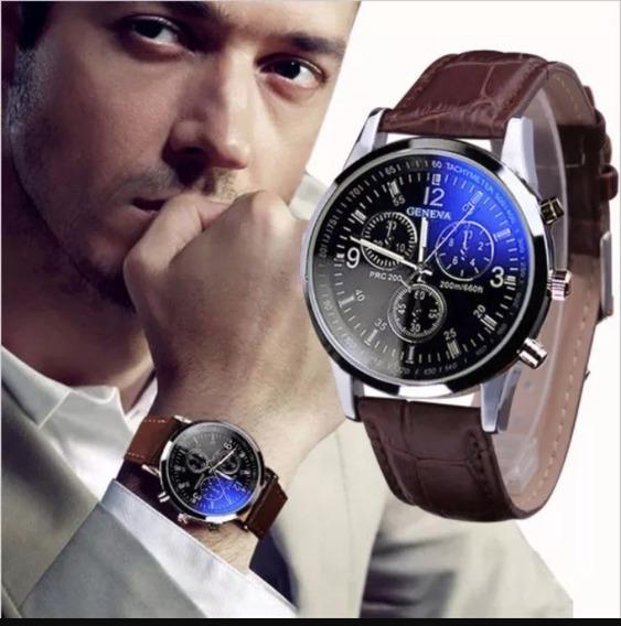 Relógio Luxo Masculino Geneva Pulso Pulseira Social Couro