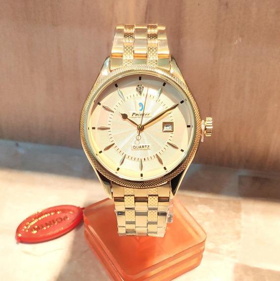Relógio Dourado Pointer Marcador De Data Unisex 6009g