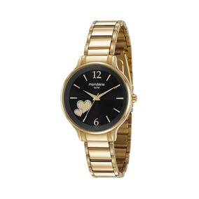 Mondaine Relógio Visor Coração Dourado