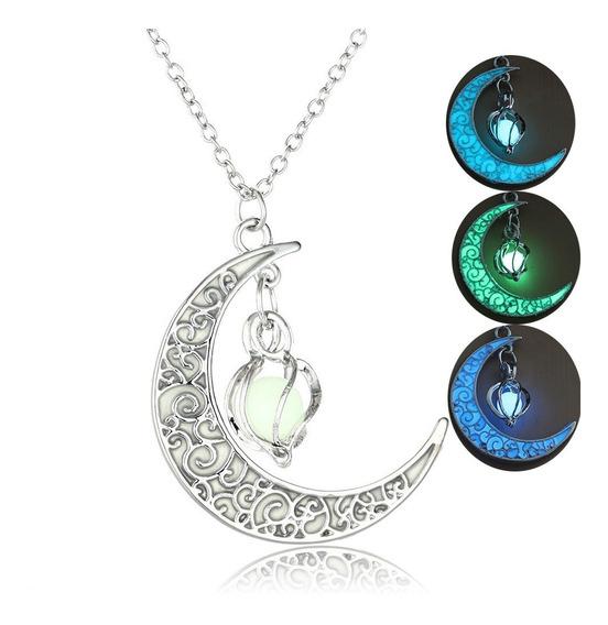 Collar Dije Luna Luminoso Brillante Oscuridad Noche C112