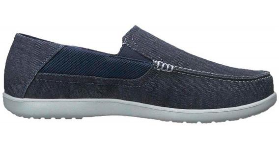 Mocasin Hombre Crocs Tela Goma Confort Azul - Hcal00724