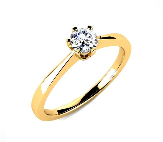 Anel Ouro Noivado Casamento Aniversário 100% Ouro 18k-750